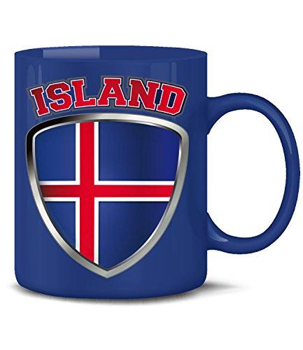 Golebros Island Iceland Fan Artikel 4693 Fuss Ball Welt Europa Meisterschaft EM 2020 WM 2022 Kaffee Tasse Becher Geschenk Ideen Fahne Flagge Team Blau