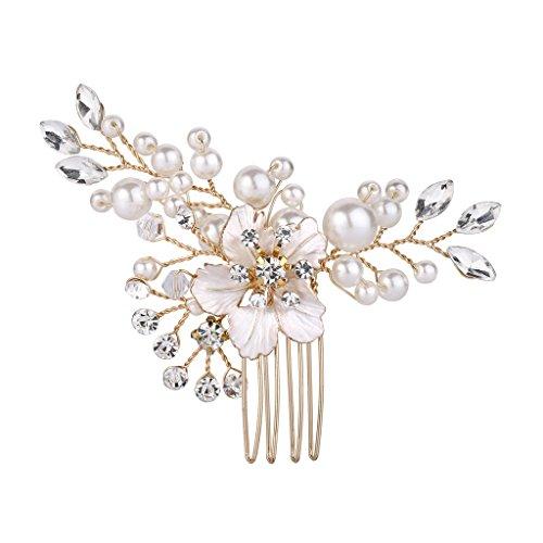 Clearine Damen Haarkamm Hochzeit Braut Kristall Künstliche Perlen Hibiskus Blume Haarnadeln Klar Gold-Ton