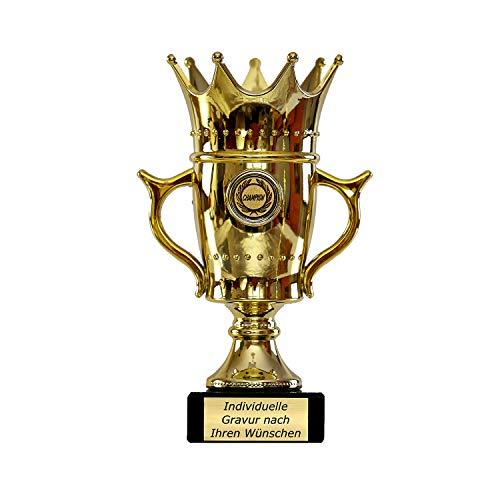 Goldener Pokal mit Gravur - Geschenk individuell personalisiert für Frauen und Männer - Siegerfigur mit Champion Emblem 22,5 cm hoch
