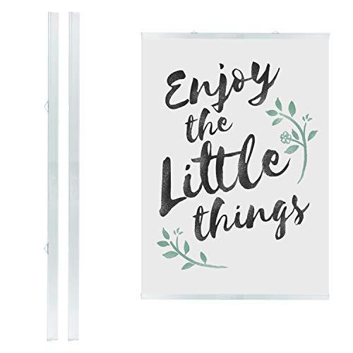 LEO's - 1 x Posterklemmschiene DIN A0 Ober- und Unterteil (84,1 cm) Transparent Hart-PVC - Klemmschiene zum Aufhängen von Postern und dünnen Displays - Plastik Posterschiene Posterleiste mit 2 Hängern