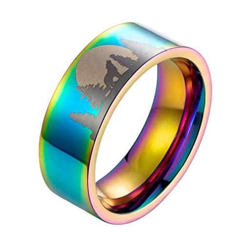 Happyyami Anel de aço de titânio, anel de tungstênio lobo luar masculino aliança de casamento anel de dedo anel exclusivo joia presente 1.82*1.82cm