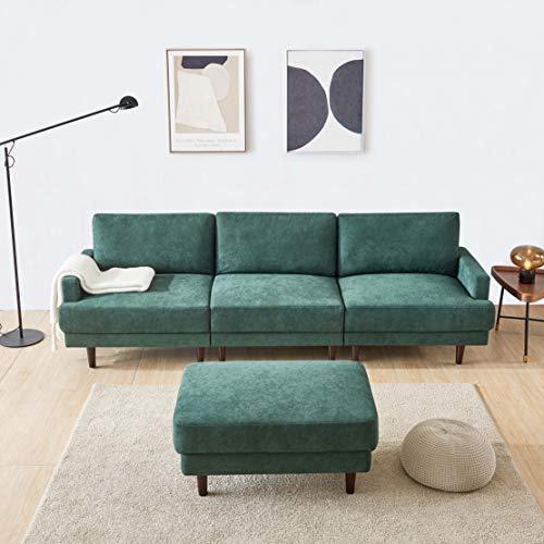 Modern Fabric Sofa L Shape, 3 Seater with ottoman-266cm Emerald