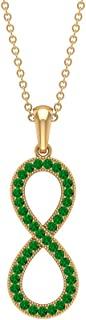 1/4 CT Infinity Necklace for Women with Pave Set Created Emerald (AAAA Quality)