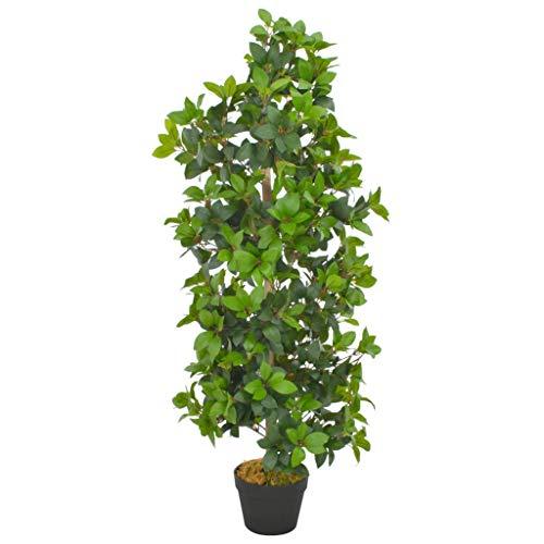 vidaXL Künstliche Pflanze Lorbeerbaum mit Topf Kunstpflanze Dekopflanze Zimmerpflanze Topfpflanze Büropflanze Grünpflanze Kunstbaum Grün 120cm