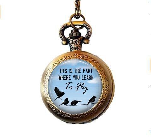 Nijiahx Halskette mit Taschenuhr-Anhänger, Zitat-Anhänger, Vögel, inspirierend, beweglich