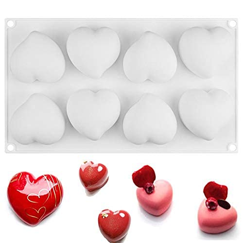 シリコン型 シリコンモールド シリコンムース型 ベーキング チョコレート型 お菓子 型 ケーキ 金型 3D抜き型 DIY 8穴 製菓道具 ホワイト フィナンシェ 桃の心型