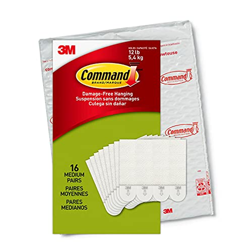 Command PH204-16NA, Holds up to 12 lbs, 16 Pairs (32, Indoor Use Picture Hanging Strips, White, Count