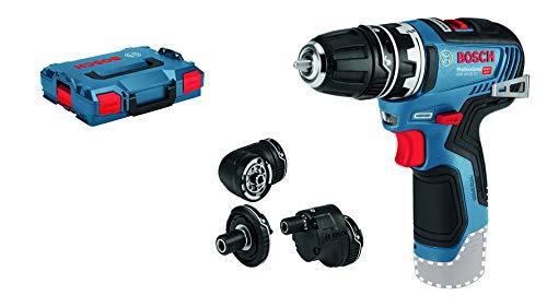 Bosch Professional GSR 12V-35 FC - Atornillador a batería (12V, 35 Nm, 3 cabezales FlexiClick, sin batería, en L-BOXX)