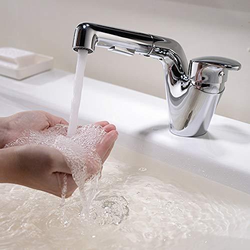 JF-XUAN Tocador del baño de cobre Tire 360 ° de rotación del grifo de agua caliente y fría acondicionado personalidad creativa Home Hotel orificio de grifo hermoso práctica Ducha Baño Grifería Herra