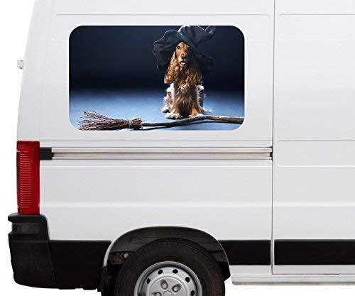 Autoaufkleber Hund Hexe Hut Hexenbesen Halloween Car Wohnmobil Auto tuning Digital Druck Fenster Sticker LKW Bild Aufkleber 21B344, Größe 3D sticker:ca. 120cmx73cm