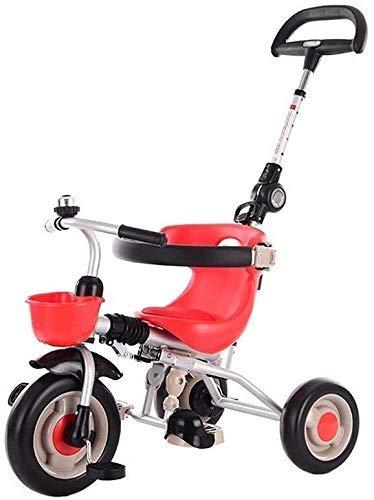 Cxjff Carro Triciclo, portátil Kid Niños de Bicicletas Alquiler niños y Seguridad 1/3/2/6 años del Muchacho y Coches Comodidad de los Asientos 3 Color (Color : Red)