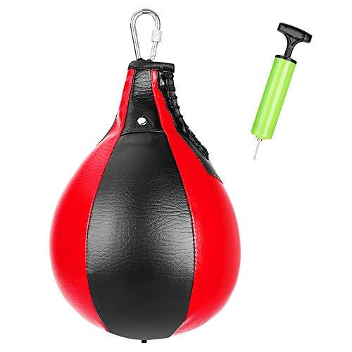 Brynnl Pear Training Speedball, PU-Leder-Drehballer zum Boxen mit Inflatorpumpe, Injektionsnadel, Metallhaken, Box-Speedball-Dreh-Boxsack für Fitness