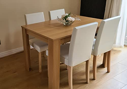 KOSY KOALA Modern wooden oak effect dining Table with 4 cream Faux Leather chairs (Table with 4 cream chairs)