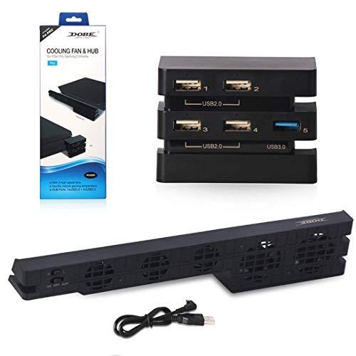 2 in 1 Koelventilator en USB hub voor Playstation 4 Ps4 PRO temperatuurregeling Koeler 4-poorts USB-uitbreiding