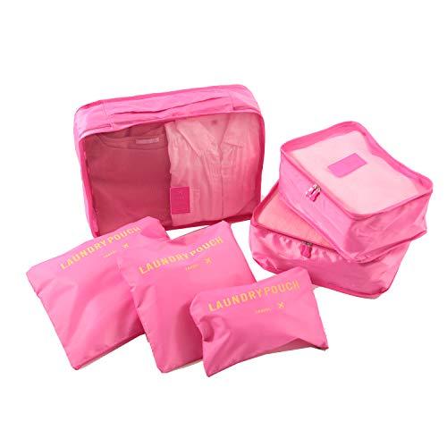 トラベルポーチ 6点 セット ピンク アレンジケース パッキングバッグ 収納トラベルグッズ 衣類 靴用 化粧品 小物 下着 バッグ 衣類仕分け 旅行グッズ