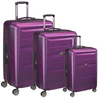 ديلسي طقم حقائب سفر بعجلات, 3 قطع مع 4 عجلات - ارجواني
