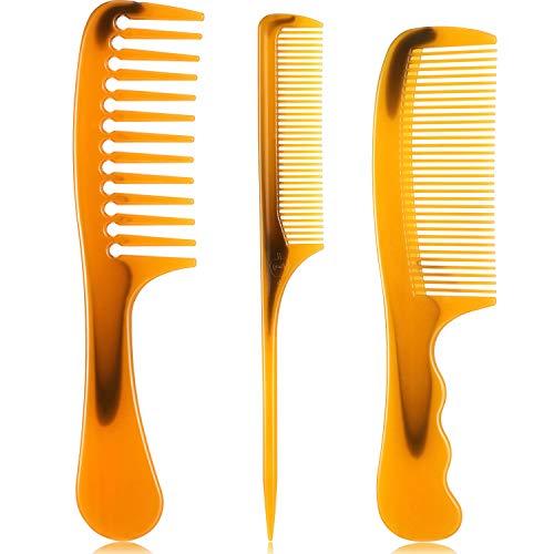 3 Pièces Peignes à Cheveux, Peigne à Dents Larges Peigne à Cheveux à Dents Fines Peigne à Manche Rond Peigne de Queue Peigne de Séparation Antistatique pour Cheveux Épais Longs et Bouclés (Marron)