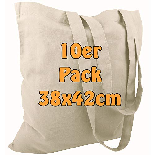 Cottonbagjoe Baumwolltasche Jutebeutel unbedruckt mit Zwei Langen Henkeln 38x42cm (Natur, 10 Stück)