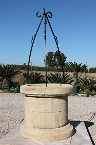 CATART Pozo Brocal Decorativo para jardín en hormigón-Piedra 70X70X169cm.