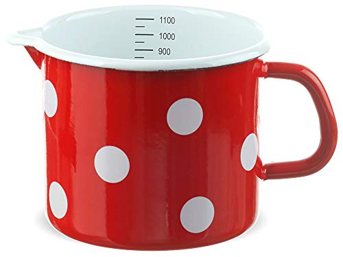 matches21 Kleiner Email Topf Milchtopf rot gepunktet mit Skala nostalgischer Messbecher Emaille Geschirr je 12 cm / 1000 ml
