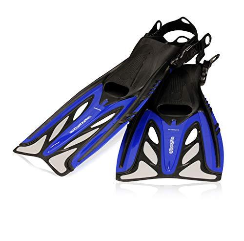 AQUAZON Barracuda verstellbare Flossen, Schnorchelflossen, Taucherflossen, Schwimmflossen, Diving fins für Kinder, Erwachsene zum Schnorcheln und Schwimmen, Größe:42/45, Farbe:Dark Blue