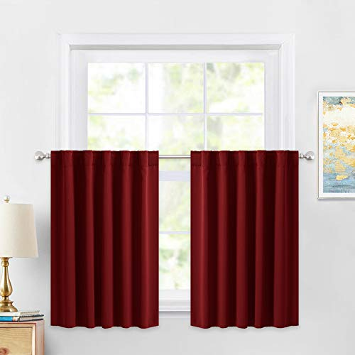 PONY DANCE Curtain Valances Set - Home Decor Top Slot Christmas Decorations Back Tab Thermal Insulated Light Block Window Panels for Kitchen/Bathroom, 42 W x 36 L, Red, 2 Pieces