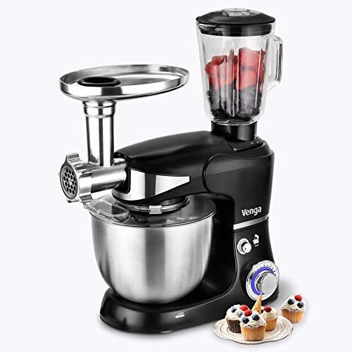 Venga! VG M 3015 Soporte mezclador con batidora y picadora, para hornear Pan y tortas con Batidor de Huevos, Batidor y Gancho, 5 litros, acero inoxidable de 1000 W, Negro