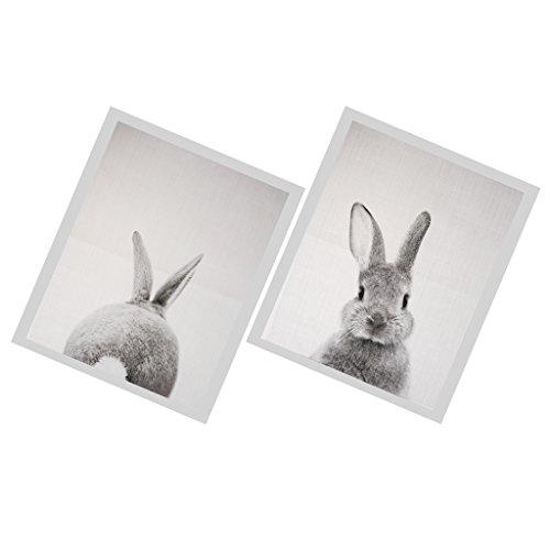 Baoblaze 2 Stück Kaninchen Wandbilder Kunstdruck Wohnzimmer/Schlaftzimmer Deko - 30x40cm