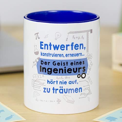 LA MENTE ES MARAVILLOSA Gedankenwelt - Tasse mit lustiger Botschaft (Entwerfen, konstruieren, erneuern. Der Geist eines Ingenieurs hört nie auf, zu träumen) Geschenk für Ingenieurs