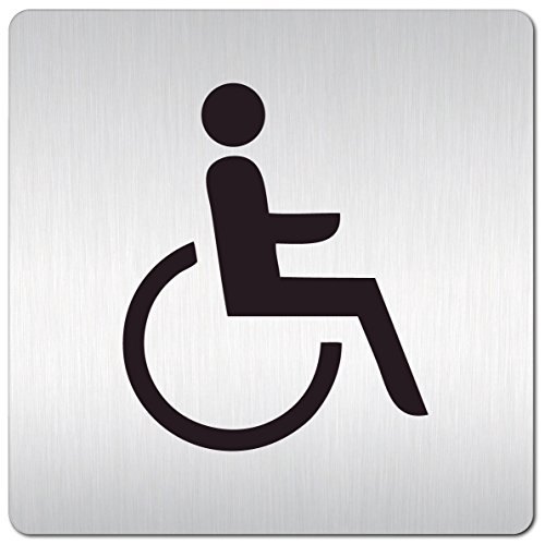 Kinekt3d Leitsysteme XXL Schild - Türschild • 125 x 125 mm • Behinderten Toilette - Rollstuhl • 1,5 mm Aluminium Vollmaterial • 100% Made in Germany