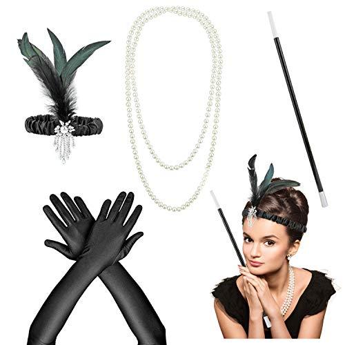 HOWAF Flapper complementos Disfraz años 20 Mujer Accesorios Set Gran Gatsby Diadema, Collar, Guantes, Canastilla de Cigarro