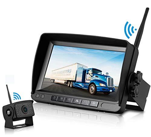 Caméra de Recul sans Fil avec Signal Numérique Stable,Caméra de Recul IP65 Étanche & 7'' TFT LCD Moniteur et Super Vision Nocturne pour Camion Remorque RV Bus Camping-Car