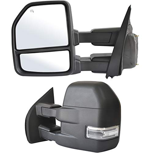 Adanz Towing Mirrors fit for 2015 2016 2017 2018 2019 2020 Ford F150 Pickup Truck LED Turn Signal Lights Temperature Sensor Heated Defrost Power Glass Foldaway 8 Pin Plug