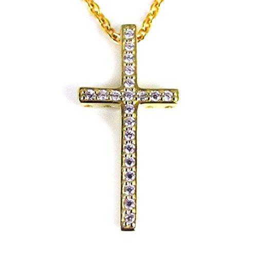 金 CZ ライン クロス ネックレス チェーン シルバー925 十字架 ペンダント 人気 ファッション ブランド bd-691