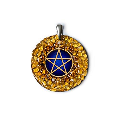 Colgante de ámbar hecho a mano, diseño de pentagrama, amuleto de pro
