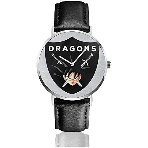 Unisex Dragon Ball Z Goku Drachenschild Uhren Quarz Lederuhr mit schwarzem Lederband