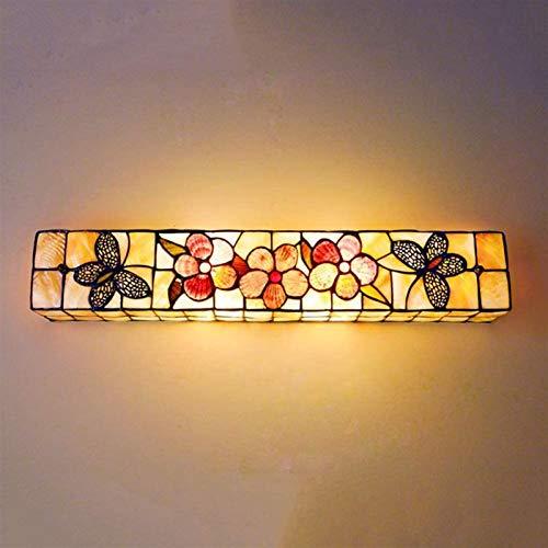 HCMNME Lámpara Industrial, Lámparas de Pared Estilo de Tiffany Mirror de 24 Pulgadas Faros con Mariposa y diseño de Flores para el escoce de la Sala de Estar de la Cama,Decoración del hogar