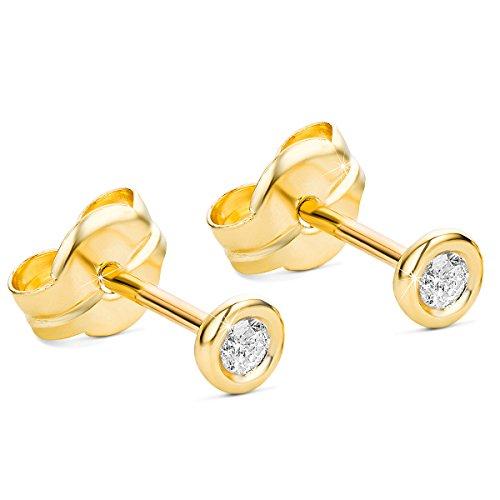 Orovi Ohrstecker Ohrringe Set,Damen GelbGold Ohrstecker mit Diamant 9Karat (375) Brillanten 0.10crt