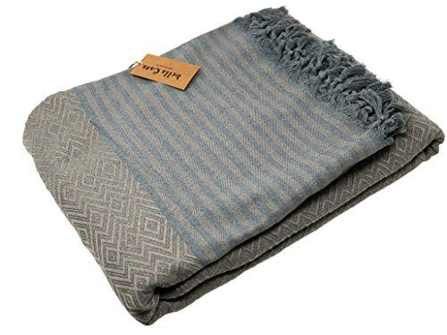 Bella Casa KELIM LUX Tagesdecke Bettüberwurf Überwurf Plaid Baumwolle 205x260 cm (Karamell)