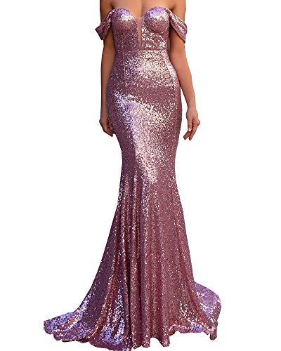 Miss ord Sexy V Neck Off Shoulder Backless Sequin Elegant Maxi Dress Pink S