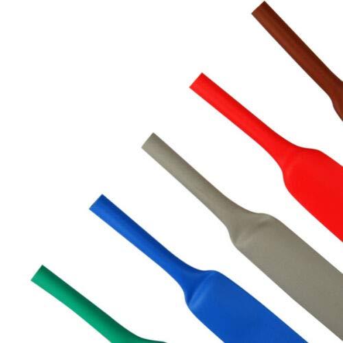 1 Meter Schrumpfschlauch 2:1 rot, Blau, Gelb, grün/gelb grau, Transparent, braun usw. verschiedene Farben Ø 1,2 bis 25,4 mm mm (Ø 4,8 mm, rot)