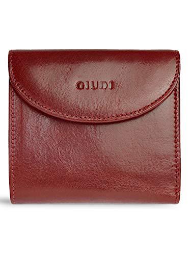 GIUDI ® Geldbörse Damen Leder Klein Rot Vintage Mit Geschenk-Service Minibörse Echtleder Münzfach Kartenfächer Portemonnaie Designer (Rot)