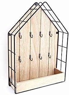 KONTARBOOR Boîte à clés, Armoire à clés Filaire Bois Style Maison 35x25cm avec 8 Crochets