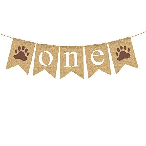 Rainlemon Jute Burlap Dog Puppy One Banner Pet or Boy 1st Birthday Party Garland Decoraiton