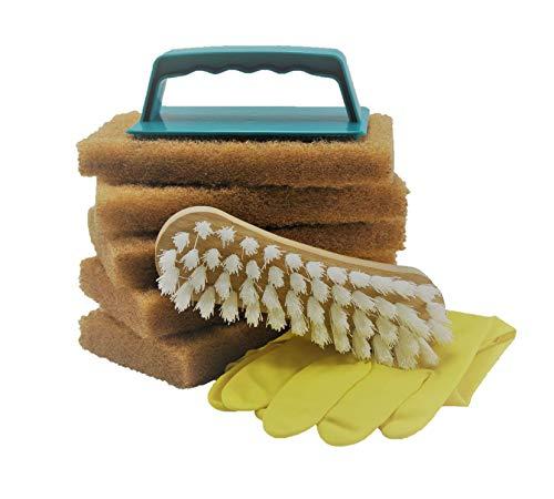 Golden Care Scheuerschwamm Set 8tlg. Pflegeschwamm Teakholz speziell für Holzmöbel Holz reinigen Holzschutz Holzpflege für Gartenmöbel