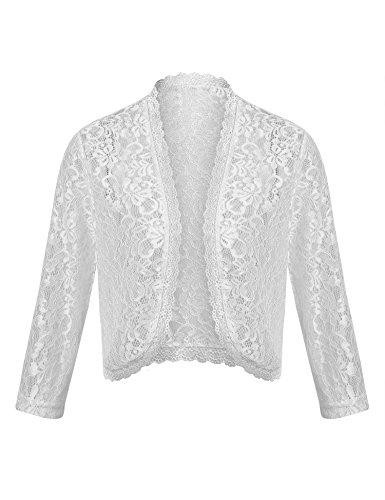 Dealwell Women Elegant Bolero Shrug Long Sleeve Lace Crochet Open Front Cardigan for Dresses (White, XL)