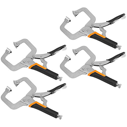 ZOENHOU 4 Pack 6 Inch Locking C Clamp with Flat Swivel Pads, High Grade Carbon Steel C Type Locking Pliers Rubber Handle, Clamping Tools for Metal DIY Woodworking Craftsmen