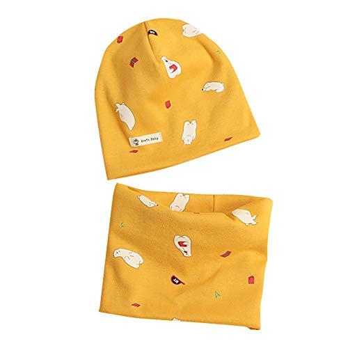 Kindermuts sjaal set, casue baby jongens meisjes beanie muts en loop sjaal set herfst winter bedrukt schattige beanie hoed kap ronde sjaal nekwarmer halsband halsdoek set Small Gele beer