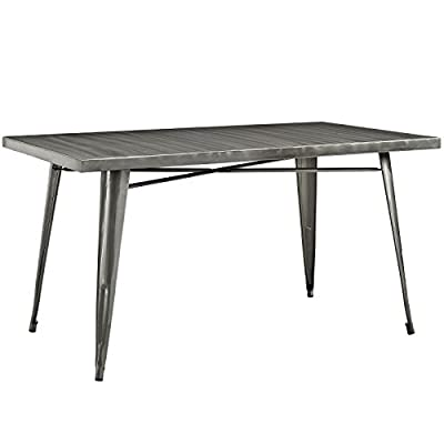 Modway Alacrity Industrial Modern Stainless Steel Metal Square Dining Table
