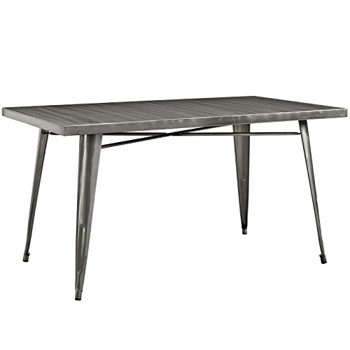 Modway Alacrity 60' Rustic Modern Farmhouse Stainless Steel Metal Rectangle Dining Table in Gunmetal